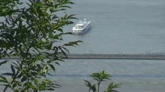 Boats traffic on Danube River,, Budapest, Hungary Stock Footage
