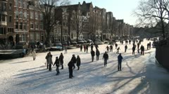 Shadows on the ice in central Amsterdam Stock Footage
