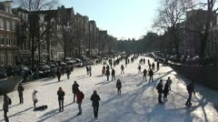 Overview of beautifully frozen canals in Amsterdam, Holland Stock Footage