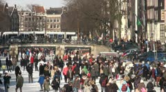 Crowds on Amsterdam canals during Winter Stock Footage