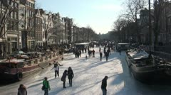 Ice on the canals of Amsterdam Stock Footage