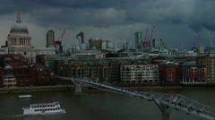 St. Paul's Cathedral, Skyline, The Thames, London  Stock Footage