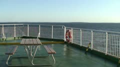 Fence and table on a cruise ship deck 1 Stock Footage