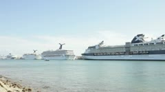 Cruise ships at the Port of Miami - stock footage