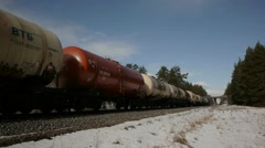 Freight train passing by Stock Footage