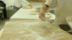 Baker bakery baking bread pastry flour bake Factory dough knead industry rye oat Stock Footage