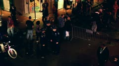 Looking down at people on Bourbon street 2012 Stock Footage