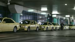 Taxi queue at Athens airport - stock footage