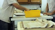 Stock Video Footage of baker bakery baking bread pastry flour bake Factory dough knead industry rye oat