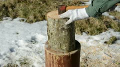 Axe and firewood log Stock Footage