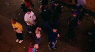 Looking down at people asking for beads Mardi Gras 2012 Stock Footage