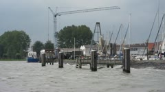 Volendam Harbour with ships Stock Footage