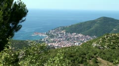 Montenegro, town Budva with a bird's-eye view Stock Footage