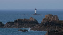 Pointe du Grouin Lighthouse (1) - Brittany France Stock Footage
