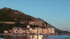 Pink sunset sea at Rafailovici (Becici), Montenegro Stock Footage