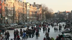 Sun sets over Winter paradise in the centre of Amsterdam Stock Footage