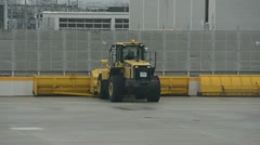 Airport crew preparing for deicing of plane Stock Footage