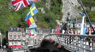 Dinant Bridge with Flags Stock Footage