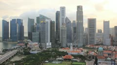 Stock Video Footage of Time Lapse Singapore Skyline at Sunset.