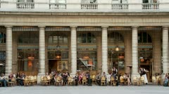 Grand Outdoor Cafe - Paris France Stock Footage