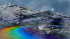 RAINBOW MOUNTAIN ROAD WITH FOG AND MOTION EFFECTS Stock Footage