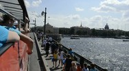 Neva and Palace bridge by Tour Bus, St. Petersburg, Russia Stock Footage