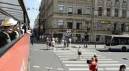 Nevsky street by Tour Bus, St. Petersburg, Russia Stock Footage