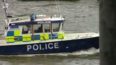 London Police Boat, The Thames  Stock Footage