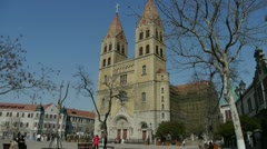 Panoramic of Qingdao Catholic Church Square & tree. Stock Footage