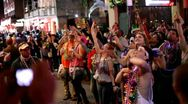 Stock Video Footage of Bourbon Street crowd handheld shot