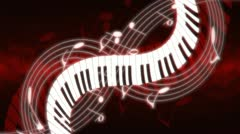 Music Notes and Keys Deep Red Hue Looping Animated Background Stock Footage