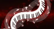 Stock Video Footage of Music Notes and Keys Deep Red Hue Looping Animated Background