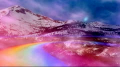 Majestic Rainbow and Snowy Mountain Road Stock Footage
