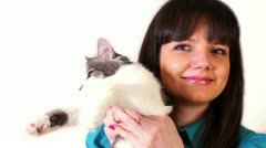 Young girl hold cat on hand, isolated Stock Footage