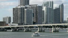 Miami skyline shot from water Stock Footage