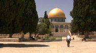 Stock Video Footage of A man and the Dome of the Rock