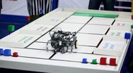 Stock Video Footage of Referee watch on robot moves, collects cubes and put them to different places
