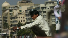 Indian young man in a big city Stock Footage