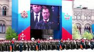 President of Russia Dmitriy Medvedev speech shown on digital screen Stock Footage