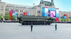 Motorcade of rocket and carriers ride on Red square on Victory Parade Stock Footage
