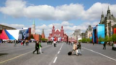 People walk at red square in Moscow, at victory holiday on spring Stock Footage