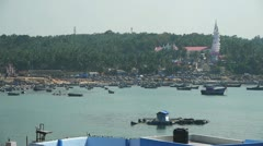 Harbor at fishing village Stock Footage