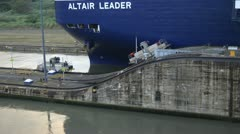 Ship Close Up In Panama Canal Miraflores Lock Stock Footage