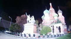 Monument of Minin and Pozharsky stands on First festival CIRCLE OF LIGHT Stock Footage