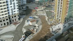 Builders work on building site of housing estate Losinyj island Stock Footage