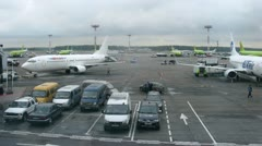 Planes of airlines Yamal, UTAIR, S7 stand in territory of airport of Domodedovo Stock Footage