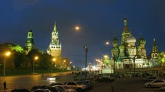People walk near sacred Vasily cathedral in evening Stock Footage