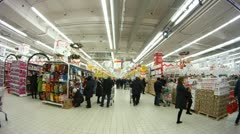 People make purchases in shopping center European Stock Footage
