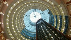 Lifts move downwards and upwards in business center Northern Tower Stock Footage
