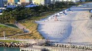 Stock Video Footage of Miami shoreline shot from aerial view with beach 3